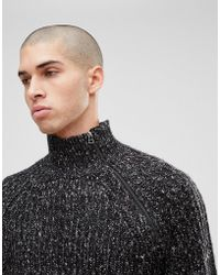 Only & Sons - Knitted Jumper With High Zip Neck - Lyst
