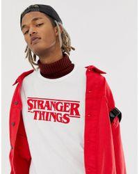 Pull&Bear - X Stranger Things Logo T-shirt In White - Lyst