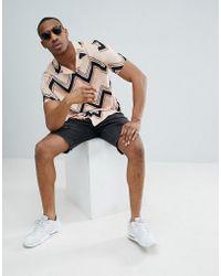 ASOS - Design Oversized Chevron Stripe Shirt In Pink - Lyst