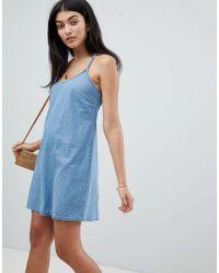 ASOS - Design Denim Slip Dress With Low Back In Midwash Blue - Lyst