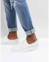 ASOS - Boat Shoes In White Mesh - Lyst