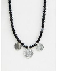 ASOS - Collier perles avec pices de monnaie et pierres semi-prcieuses - Lyst