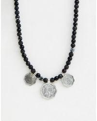 ASOS - Collar de cuentas con monedas y piedras semipreciosas de - Lyst