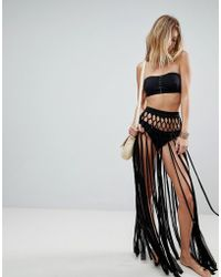 ASOS - Slinky Fringed Knotted Beach Sarong Skirt - Lyst