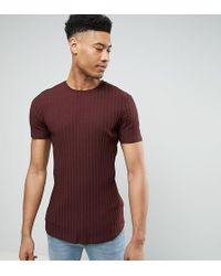 ASOS - Tall Muscle Longline T-shirt In Chunky Rib With Curved Hem - Lyst