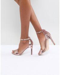 ce33c9b238a ALDO - Fiolla Rose Gold Sequin Heeled Sandal - Lyst