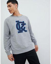 Calvin Klein - Sweatshirt With Applique Logo Grey - Lyst
