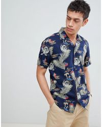Only & Sons - Printed Short Sleeve Shirt With Revere Collar - Lyst