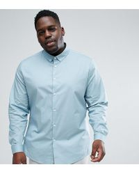 ASOS - Plus Slim Shirt In Slate With Button Down Collar - Lyst