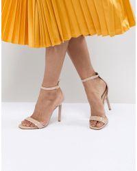 bf428e874b4 Aldo Tan Block Heeled Sandals in Brown - Lyst