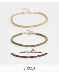 ASOS - 3 Pack Mesh Chain Bracelets In Gold Tone - Lyst