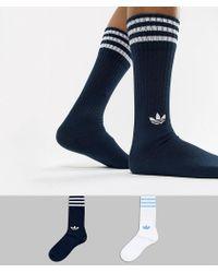 adidas Originals - 2 Pack Crew Socks In Navy Dh3363 - Lyst