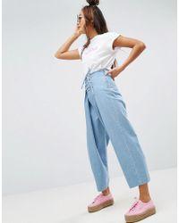 ASOS - Corset Front Wide Leg Jeans - Lyst