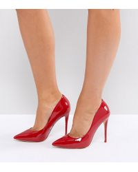 ALDO - Wide Fit Red Pointed Court Shoes - Lyst