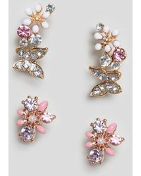 ASOS - Pack Of 2 Stud Earrings With Butterfly And Floral Design In Gold - Lyst