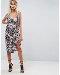 325dd0e0a19 ASOS - Animal Print Wrap Midi Dress - Lyst