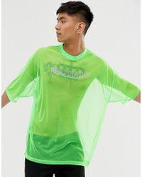 ASOS Oversized T-shirt Is Neon Mesh With Hot Fix Gem Print - Green