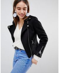 New Look - Suedette Biker Jacket - Lyst