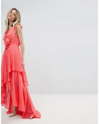 Y.A.S - Ruffle Lace Up Maxi Dress - Lyst