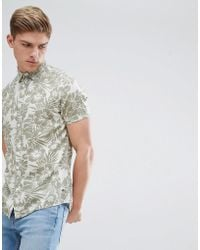 Solid - Short Sleeve Shirt In Hibiscus Print - Lyst