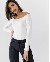 ad6b8ecc58b91 ASOS - Off Shoulder Top With Long Sleeve In White - Lyst