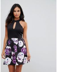 Wal-G | Keyhole Detail Dress With Floral Skirt | Lyst