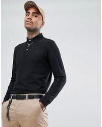 Aquascutum - Hillington Long Sleeve Crest Logo Club Check Placket Polo Shirt In Black - Lyst