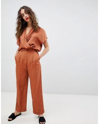 Mango - Straight Leg Two-piece Trousers In Rust - Lyst