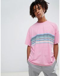 db5c369e ASOS - Design Oversized T-shirt With Retro Chest Stripe On Neppy Jersey -  Lyst
