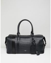 Dune - Cullen Faux Croc Holdall In Black - Lyst