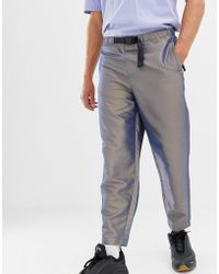 a98ca31d3 ASOS Skinny Chinos With Reflective Detail And Shoelace Belt In Dark Brown  in Brown for Men - Lyst