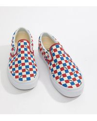 e0bc80f5d1 Vans - Factory Pack Checkerboard Slip-on Plimsolls In Red Exclusive At Asos  - Lyst