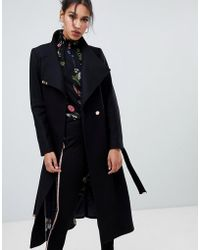 Ted Baker - Sandral Extra Long Wool Wrap Coat - Lyst