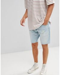 Stradivarius - Denim Shorts In Light Blue With Abrasions - Lyst