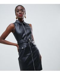 Warehouse - Faux Leather Belted Mini Dress In Black - Lyst