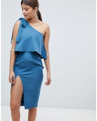 Missguided - One Shoulder Bow Sleeve Dress - Lyst