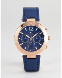 Tommy Hilfiger - 1781881 Chronograph Leather Watch In Navy 38mm - Lyst