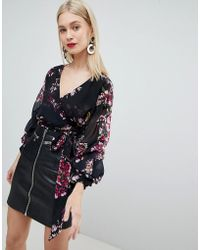 Lipsy - Ruffle Blouse In Floral Print - Lyst