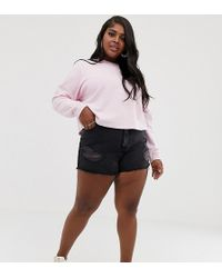 ASOS - Asos Design Curve Recycled Denim Aldenham High Rise Shorts With Raw Hem And Rips In Washed Black - Lyst