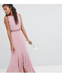 TFNC London - Wedding Bow Back Maxi Dress With High Low Hem - Lyst