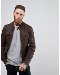 Goosecraft - Washingon Leather Jacket With Button Collar In Brown - Lyst