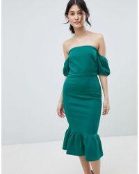 True Violet - Bardot Midi Dress With Puff Sleeve And Peplum - Lyst