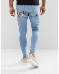 SIKSILK - Super Skinny Jeans With Floral Embroidery - Lyst