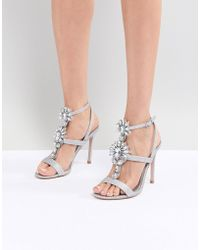 23053d84afa Lyst - Monki Pearl Detail Block Heeled Sandal in Natural
