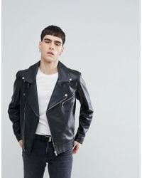 Weekday - Leather Jacket In Black - Lyst