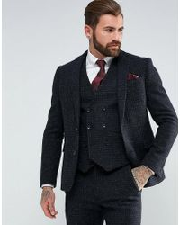 ASOS | Slim Suit Jacket In 100% Wool Harris Tweed Herringbone In Charcoal | Lyst