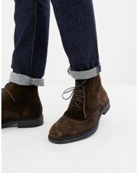 b812e5c8852c21 Tommy Hilfiger - Flexible Dressy Brogue Suede Boot In Brown - Lyst