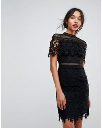 Chi Chi London - Lace High Neck Mini Dress In Black - Lyst