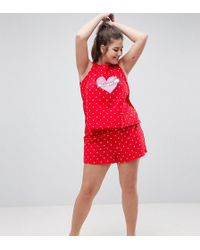 ASOS - Love Club Vest & Short Pyjama Set - Lyst