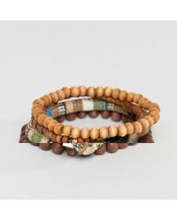 Icon Brand - Brown Beaded Bracelet In 3 Pack - Lyst
